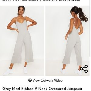 Gray Marle ribs V-neck jumpsuit size 2